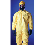 Extensis Tychem QC Coveralls with attached Hood, Storm Flap, Bound Seams, Yellow, 2XL