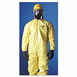 Extensis Tychem QC Coveralls with attached Hood, Serged Seams, Yellow, 4XL