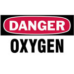 "Brady 3""x5"" Danger Oxygen Gascylinder Label"
