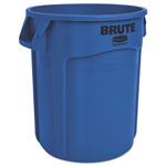 Rubbermaid Round Plastic Outdoor Trash Can, 20 Gallon, Blue