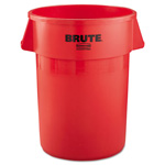 Rubbermaid Round Plastic Outdoor Trash Can, 44 Gallon, Red