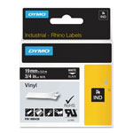 "Dymo Rhino Permanent Vinyl Industrial Label Tape, 3/4"" x 18 ft, Black/White Print"