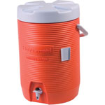 "Rubbermaid Insulated Beverage Container, 3gal, 11"" dia x 16 7/10h, Orange/White"