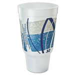 Dart Impulse Hot/Cold Foam Drinking Cup, 32oz, Flush Fill, Printed, Blue/Gray, 16/Bag