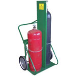 Saf-T-Cart 150 Series Carts, Holds 2 Cylinders, 9 1/2 in-12 1/2 in dia., w/Firewall