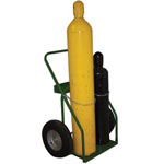Saf-T-Cart 800 Series Carts, Holds 2 Cylinders, 9.5 in dia., 16 in Pneumatic Wheels