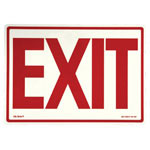 "Jessup Glow In The Dark Exit Sign, 14"", Red Background, Glow Text"