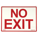 "Jessup Glow In The Dark Exit Sign, 14"", Glow Background, Red Text"