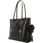 Mobile Edge METSC1 Signature Tote - Notebook Carrying Case - Faux Crocodile Black