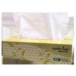 North River North River Facial Tissue, 2-Ply, 8 1/2 x 7 1/2, 100/Box, 30 Boxes/Carton