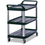 Rubbermaid XtraThree Shelf Utility Cart, Black