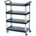 Rubbermaid XtraFour Shelf Utility Cart, Black