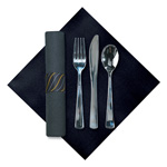 Hoffmaster Kit, Cutlery K-F-S Fashnpnt Black Napkin Hvywt Plastic Metallic Wrapped W/ Band