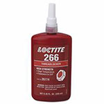 Loctite 266 Threadlockers, High Strength/High Temperature, 250 mL, 3/4 in Thread, Red-Orange