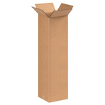 "Box Partners 4"" x 4"" x 20"" Brown Corrugated Boxes"