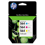 HP 564 Cyan/Magenta/Yellow Ink Cartridge, Model CD994FN140, Page Yield 3x300