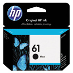 HP 61 Black Inkjet Cartridge, Model CH561WN140, 190 Page Yield