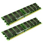 Kingston 1 GB Memory (2 x 512 MB), DIMM 184-pin, DDR, 400 MHz, Unbuffered