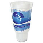 Dart Horizon Flush Fill Foam Cup, Hot/Cold, 44 oz., Ocean Blue/White, 15/Bag
