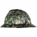 MSA Freedom Series V-Gard Hard Hats, Fas-Trac Ratchet, Full Brim, Camouflage