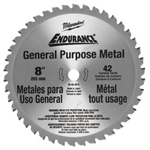 "Milwaukee Electric Tools 8"" Circular Saw Blade Metal Cutting 42t"