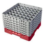 "Cambro Camrack 49 Compartment 11 3/4"" Glass Rack, Rose Red"