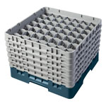 "Cambro Camrack 49 Compartment 11 3/4"" Glass Rack, Teal"
