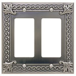 "Atlas Homewares VDR-P 3.2"" Venetian Double Rocker Switch Plate, Pewter"