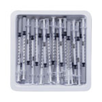 "Becton Dickinson 1/2""mL Allergist Tray with Needle, 27 G x 1/2"""