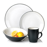 Vivendi 16 piece 2-Tone Dinnerware Set, White/Black
