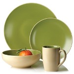 Paradiso 2-Tone 32 piece Dinnerware Set, Green/Cream