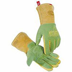 Caiman Revolution Welding Gloves, American Deerskin Leather, Large, Green/Gold