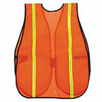 River City Safety Vests, One Size Fits Most, Orange w/Lime Stripe
