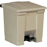 Rubbermaid Beige Plastic Step-On Fire-Safe Trash Can, 8 Gallon, Square