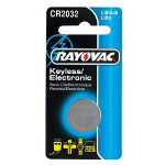 Rayovac KECR2032-1 46277 Lithium Keyless Entry Battery 2032 Size 3v