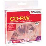 Verbatim High Speed - 5 x CD-RW - 700 MB (80min) 4X - 12X - Slim Jewel Case - Storage Media