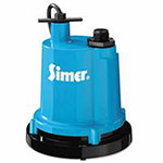 Simer 1/4 HP Thermoplastic Portable/Submersible Utility Pump, Submersible Utility Pumps, Cast Aluminum, 1/4 HP, 1,320.00 gal/h