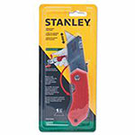 Stanley Bostitch Folding Pocket Safety Knives, 4.312 in, Folding Steel Blade, Bi-Material, Gray, Red
