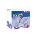 Verbatim 20PK DVD-R 4.7GB 16X BRANDED SURFACE SLIM CASE