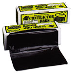 Warp Brothers Heavyweight Contractor Bags, 36 x 56, 55gal, 3mil, Black, 30/Box