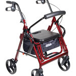 Drive Medical Duet Combination Rollator Transport Chair, Burgundy