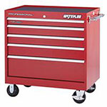 Waterloo Professional HD Series 40 X 24 5-Drawer Cabinet, Red
