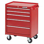Waterloo Series Red 26in Wide 5-Drawer Cabinets