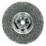 "Weiler Trulock TLN-6 Narrow-Face Crimped Wire Wheel, 6"" dia, .008 Wire"