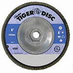 Weiler Tiger Disc Abrasive Flap Discs, 6in,60 Grit, 5/8 Arbor, 10,200 rpm, Phenolic Back