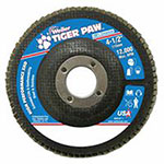 Weiler Tiger Paw Coated Abrasive Flap Discs, 4 1/2in, 60 Grit, 7/8 Arbor, 12,000 rpm