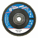 Weiler Tiger Paw Super High Density Flap Discs, 4 1/2in, 40 Grit, 5/8 Arbor, 12,000 rpm