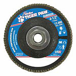 Weiler Tiger Paw Super High Density Flap Discs, 4 1/2in, 80 Grit, 5/8 Arbor, 12,000 rpm