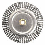 Weiler Dually Stringer Bead Wheel, 7 in D x 3/16 in W, .02 in Carbon Steel, 9,000 rpm