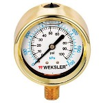 "Weksler 2 1/2"" 0/300 PSI Lqd Fill Brass-1/4"" Lc"